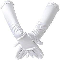 Westeng Guantes Niñas Simplicidad Mitones de Satén Largo Vestido de Novia Guantes Etiqueta de Protección Solar Blanco, 1 par