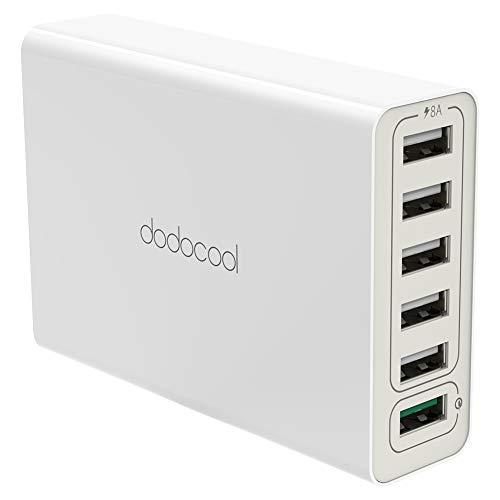 dodocool 58W 6-Port USB Ladegerät mit Quick Charge 3.0 USB Ladeadapter Wand Ladegerät USB Netzteil Ladestecker für iPhone/iPad/ Samsung/Handy / Tablets/Android Smartphones (mit 4,92ft Netzkabel)