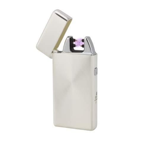 Tesla-Lighter T05 | Lichtbogen Feuerzeug, Plasma Double-Arc, elektronisch wiederaufladbar, aufladbar mit Strom per USB, ohne Gas und Benzin, mit Ladekabel, in edler Geschenkverpackung, Silber gebürstet