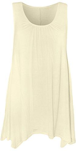 WearAll - Damen Übergröße Hanky Hem Ärmellos Lang Vest Top - Crème - 48-50 -
