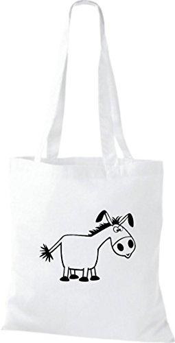 Shirtstown Pochette en tissu Animaux âne Blanc - Blanc