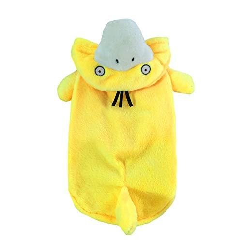 Xinwcang Haustier Kostüm für Hunde Halloween Ente Psyduck Hundekostüm Kleidung für Weihnachten Kleid Karneval Hundemantel Gelb - Hunde Ente Kostüm