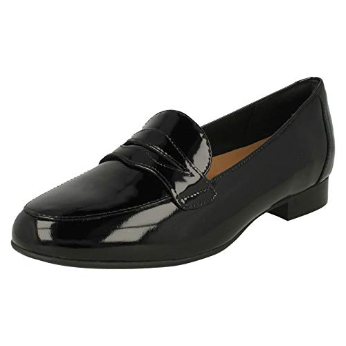 Clarks Un Blush Go Womens Wide Fit Casual Penny Loafers 6,5 D (m) UK/40 EU Schwarz Lack