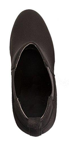 Elara Damen Stiefeletten | Klassische Ankle Boots | Wildlederoptik Blockabsatz | Gefüttert Schwarz