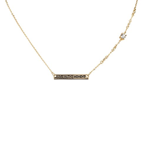 lux-zubehor-live-in-the-moment-inspirational-charm-pendant-necklace