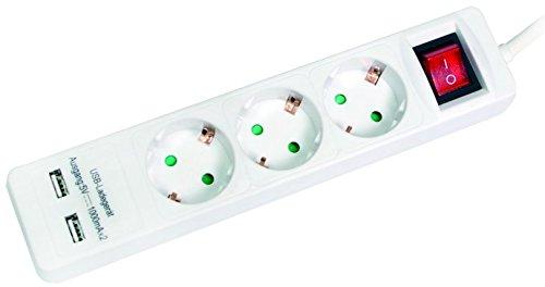LogiLink lps213u 3de regleta (3x abgewinkelte Schuko hembra, 2x USB Puertos, 1000mA, interruptor, protección infantil), color blanco