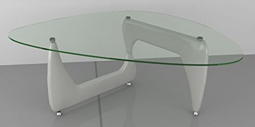 New Isamu Noguchi Inspired Glass Coffee Table with White Gloss Legs