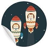 24 lustige Raketen Aufkleber für alle die neu starten, MATTE universal Papieraufkleber für Einladungen, Geschenke, Etiketten für Tischdeko, Pakete, Briefe und mehr (ø 45mm
