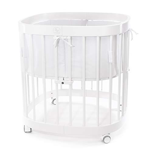 tweeto Babybett Kinderbett 7-in-1 KOMPLETT-SET - WEISS Babybed multifunktional in 7 Varianten umbaubar inkl. Nestchen (Weiß uni)