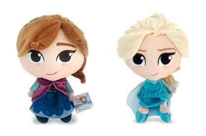 Pts pupazzi originali delle 2 principesse (elsa ed anna) di frozen stilizzate, alte 18cm, una coppia (2 peluche)