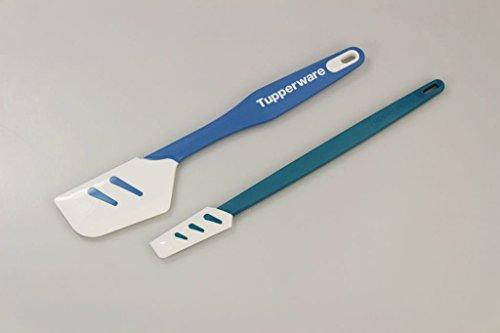 TUPPERWARE Griffbereit Top-Schaber + Kleiner Top-Schaber Silikon weiß-blau Tupperware Topf