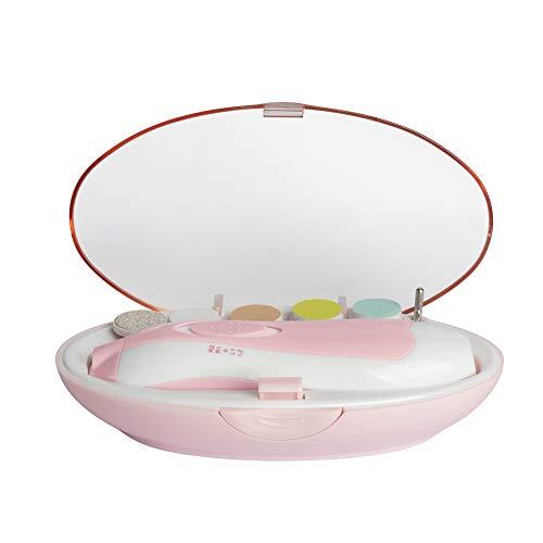 Rosa Elektrische Baby Nagelfeile, Maniküre & Pediküre Nagelpflege Set 6 in 1 Nagelfeile mit LED- Licht für Babys, Kleinkind, Erwachsene, gesund und Sicher, macht baby fröhlich (Batterien NICHT dabei)