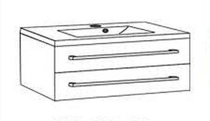 Quentis Waschplatz Set Genua 100, 2-teilig, Waschbecken und Unterschrank, weiß glänzend, 2 Schubladen -