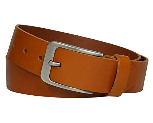 Vascavi ® Cinturón de cuero de piel, 3,5 cm de ancho y aprox. 0,3 cm de grosor, cuero auténtico, Made in Germany, para hombres y mujeres #3,5-0001 (120 cm Longitud total 135 cm, Coñac)