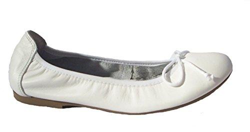Acebo's Ballerinas Flats Slipper Leder weiss Weiß