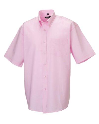 Russell Collection Oxford Herren Hemd, Kurzarm, pflegeleicht (Kragenweite 48) (Pink) (Baumwolle Kurzarm-oxford-hemd)