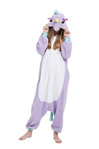Fandecie Animal Costume Animal Traje Pijamas Pijamas Jumpsuit Unicornio Mujer Hombre Cosplay Adulto para Carnaval Animal Halloween (Violeta Unicornio, S: Estatura 150-159cm)