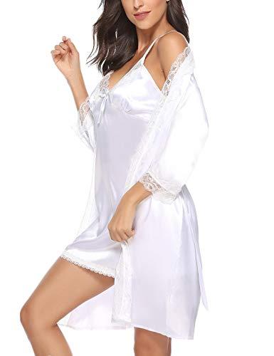 Abollria Sexy Donna Vestaglia 2 Pezzi in Seta con Pizzo, Pigiama Vestaglia in Raso Camicia da Notte con Cintura (L, Bianco)