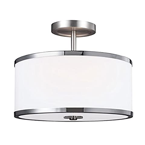 Prospero Park Two Lamp Semi-Flush Ceiling Light - Satin Nickel / Polished Chrome