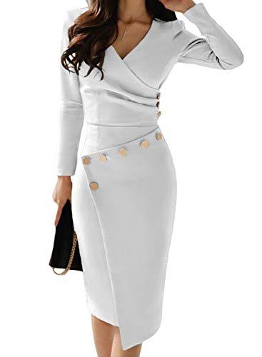 Aleumdr Abito Donna con Scollo V Profondo Vestiti Donna Invernali Pulsante  Arricciato Abito da Cerimonia Elegante da087ea55a6