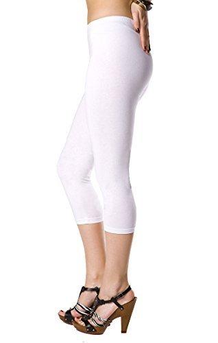 FUTURO FASHION Court Leggings Coton Classique 3/4 Pantalon Haute qualitéété Couleurs - Blanc, EU 40