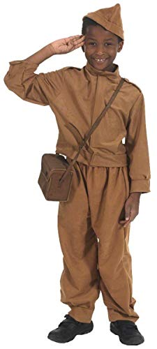 Jungen Kostüm Für Soldat - Fancy Me Kinder Kinder Jungen WW2 Bürgerwehr Armee Soldat Uniform Kostüm Kleid Outfit - Braun, 10-12 Years