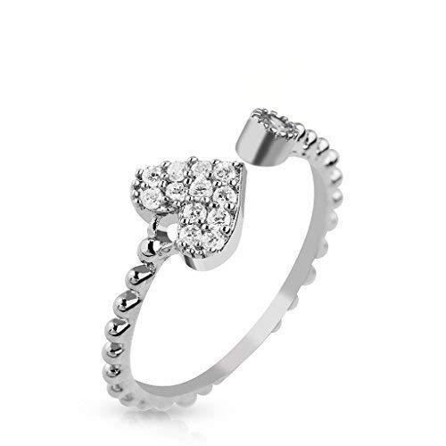 Tapsi´s Coolbodyart® Damen Fingerring Zehenring Messing rhodiniert in Silber verstellbar mit Herz und Glitzerstein