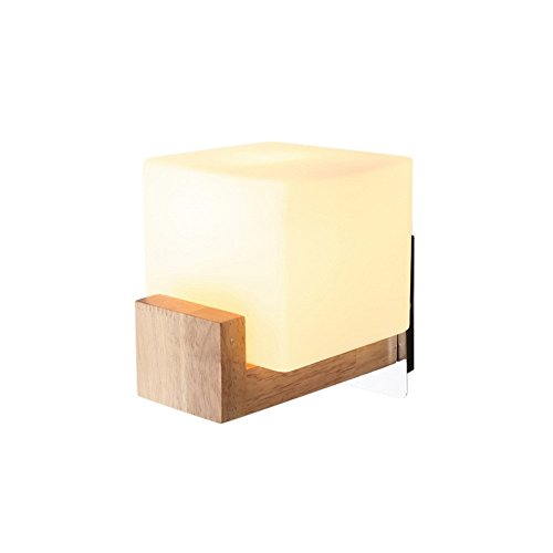 E27 europäischer Stil modern stilvoll handgefertigte Glas Lampenschirm Holz Mauer Lampe Zimmer Bett Wohnzimmer Gänge Hotel Restaurant Mauer Licht innen zuhause Mall Dekor Creative Wandlampen,White - Stil-holz-bett