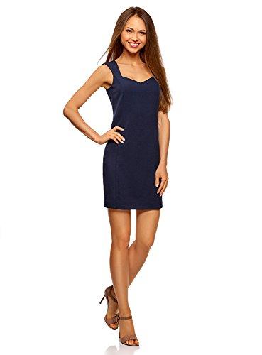 oodji Ultra Donna Abito Basic con Scollo Sagomato Blu (7900N)