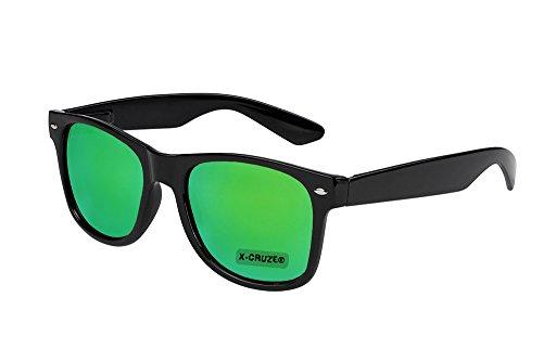 X-CRUZE® 8-107 X0 Nerd Sonnenbrille Retro Vintage Design Style Stil Unisex Herren Damen Männer Frauen Brille Nerdbrille - schwarz und grün verspiegelt