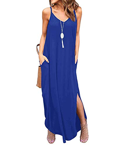 TUDOU Damen Kleid Lässig Spaghetti Strap V-Ausschnitt Split Maxi Kleid Sommer Strand Vertuschen Lange Cami T Shirt Kleider mit Tasche (XL, Königsblau) - Side Maxi Split
