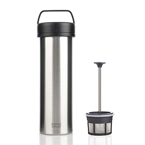 ESPRO Edelstahl Reise-French Press Ultralight, Mini Coffee Maker mit Thermo-Funktion, Kaffee, to go, 475ml, 18/8