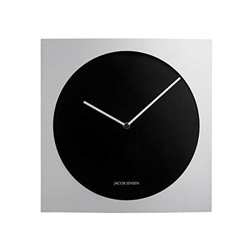Jacob Jensen - Wanduhr, Uhr - Farbe: Silber/Schwarz - Aluminium - 35 x 35 cm - Zeitloses dänisches Design