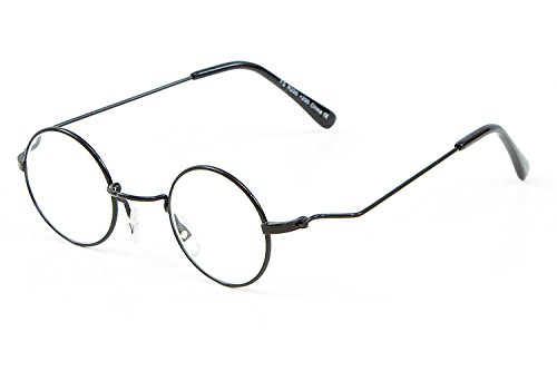 +1.50 Round Reading Glasses Black Metal Frame, Men Women Unisex. Retro Vintage 70's +1.5 Prescription