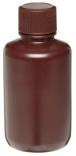 Wheaton 209127 Auslaufsichere HDPE-Flasche mit enger Öffnung und 24-410 Schraubverschluss, 50 mm Durchmesser x 101 mm Höhe, 125 mL, Braun (72-er Pack)