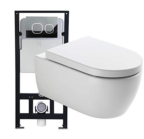 Bernstein Glas-modell (WC-Sparpaket 3: WC NT2039 und Soft-Close Sitz mit Vorwandelement G3004A und Betätigungsplatte vorne, Betätigungsplatte:Modell weiß Glas)