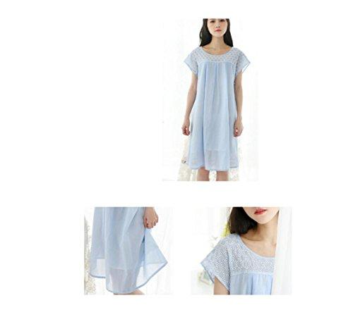 GSHGA Damen Pyjama Kleid Sommer Baumwolle Mit Kurzen Ärmeln Süß Und Niedlich Nette Prinzessin Home-Service Blue