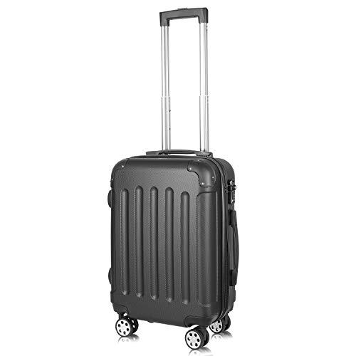 PRASACCO Reisekoffer Handgepäck Für Flug Hartschalen Koffer Trolley TSA-Schloss Ultraleicht ABS Anti-Kratzer Erweiterbar 4 Rollen (Schwarz, 55x38x23cm)