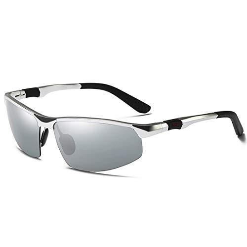 Sixminyo Polarisierte Sonnenbrillen tragen eine Mountainbike-Brille mit Sonnenbrille (Color : Silver)