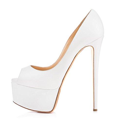Onlymaker Damenschuhe High Heels Stiletto Peep Toe Pumps mit Plateau Weiß EU39 Lack High Heel Platform