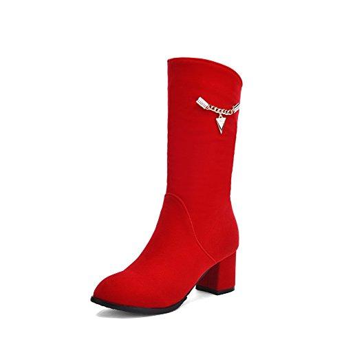 AgooLar Damen Mittler Absatz Mattglasbirne Mitte-Spitze Rein Reißverschluss Stiefel Rot
