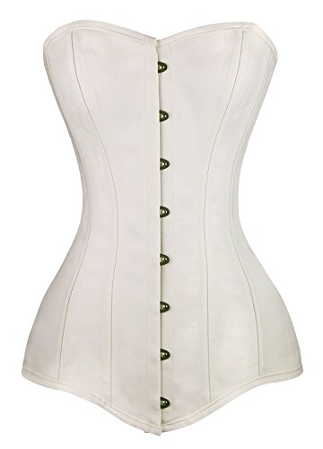 Charmian Women's Spiral Steel Boned Cotton Long Torso Hourglass Body Shaper Corset White Large (Tight Long Baumwolle)