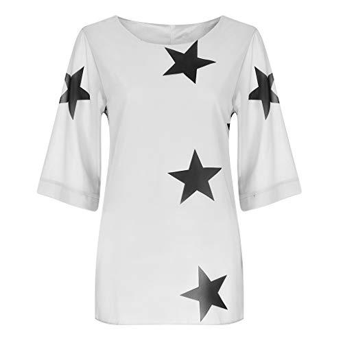 HULKY Donna Star Print T-Shirt Vendita丨Estate Casual Manica Corta Tee Shirts丨Plus Taglia Top Larghi per Le Donne(Bianca,Medium)