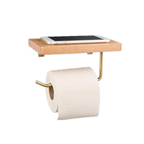 TentHome Messing Toilettenpapierhalter WC-Papierhalter Toilettenpapierhalterung mit Ablage Handy Rollenhalter Holz Wand Klopapierhalter (Bohren, Buchenholz) Handy Messing