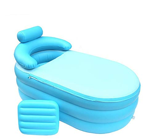 vntoogreat Aufblasbares rutschfestes Schwimmbecken, zusammenklappbare Badewanne für Kinderheim, Dicke Isolationsreiseluftduschwanne (blau)