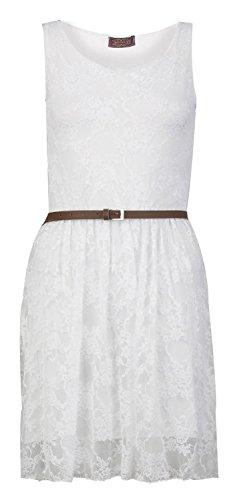 kater-Kleid Ärmellose Blumenspitze Gürtel ()