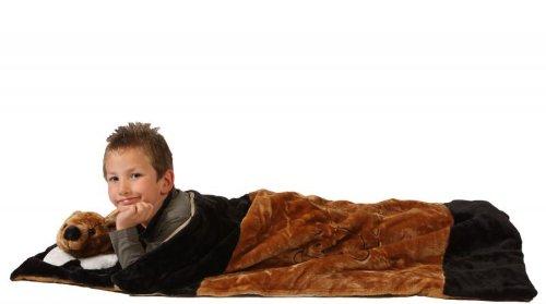 Kostüm Bär Schlafsack (Foxxeo 11005-STD | Deluxe Schlafsack für Kinder Kinderschlafsack Bärenschlafsack Bären Plüsch 117 cm Bär Schlaf Sack brauner Tierschlafsack Tier Tiere Kind Kinder)