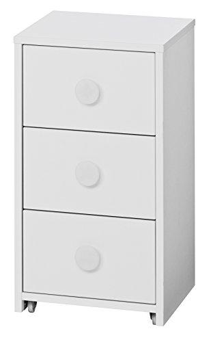Loft24 Combat Rollcontainer weiß Kommode Schubladenschrank Schrank Aktenschrank Büromöbel 3 Schubladen, rollbar 36,8x38,4x67,6 cm -