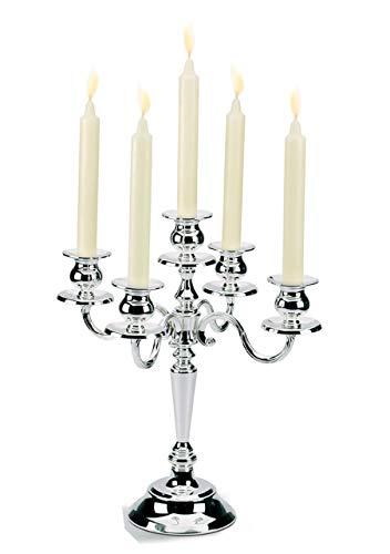 Ten Kerzenleuchter 5 Flammen im versilberten englischen Stil cod.720625 cm 34,5h by Varotto & Co.
