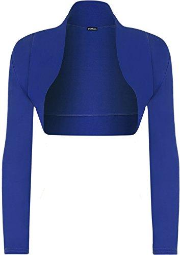 Authentic Blau Jersey (WearAll - Damen Bolero langarm Top - Königsblau - 36-38)